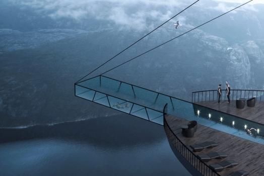 (Italiano) Nuovo concept in Norvegia: camere e piscina a picco sui fiordi