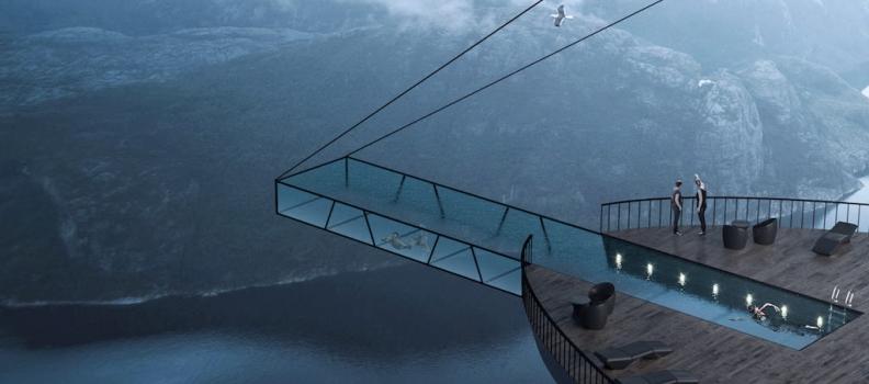 Nuovo concept in Norvegia: camere e piscina a picco sui fiordi