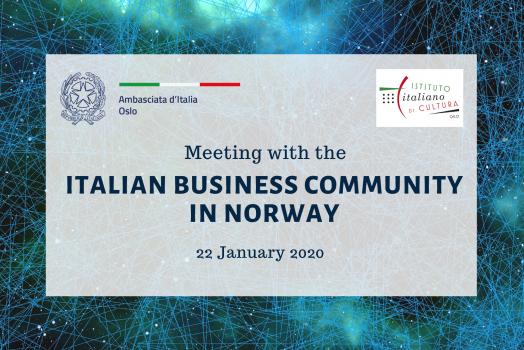 (Italiano) INCONTRO DELL'AMBASCIATA CON LA COMUNITÀ BUSINESS IN NORVEGIA – 22 Gennaio 2020 – Oslo